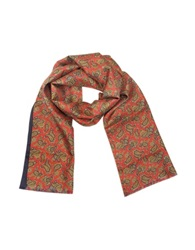 Forzieri Maxi Paisley Print Silk Reversible Men's Scarf Red Blue