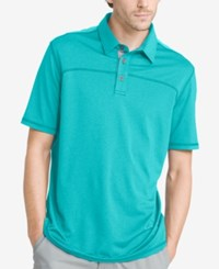 G.H. Bass And Co. Men's White Water Performance Polo Peacock Blue Heather