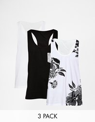 Asos Vest With Plain Floral Print And Pocket 3 Pack Save 15 Multi