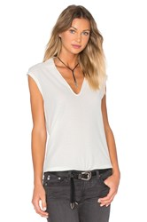 James Perse Cap Sleeve Polo Top White