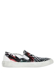 Oxs Tattoo Printed Leather Slip On Sneakers