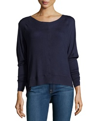 Dex High Low Knit Sweater Deep Navy