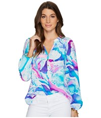Lilly Pulitzer Elsa Top Purple Opal Swell Acquainted Blouse Multi