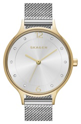 Skagen 'Anita' Crystal Index Mesh Strap Watch 30Mm Silver Gold