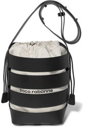 Paco Rabanne Cage Hobo Medium Leather And Canvas Bucket Bag Black