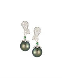 Belpearl 14K Tahitian Pearl Diamond And Green Garnet Drop Earrings