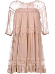 No21 Silk Baby Doll Dress Nude And Neutrals