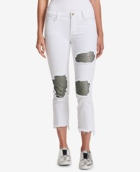 Dkny Sequined Cropped Skinny Jeans White
