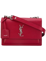 Saint Laurent Medium Sunset Monogram Satchel Women Leather One Size Red