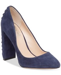 Vince Camuto Dallan Lace Up Heel Pumps Women's Shoes Navy Haze