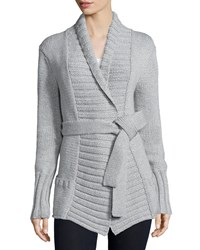 Michael Kors Long Sleeve Belted Sweater Pearl Gray Pearl Grey