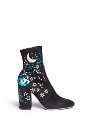 Valentino 'Astro Couture' Galaxy Foil Print Embroidered Suede Boots Black