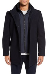 Vince Camuto Classic Wool Blend Car Coat With Inset Bib Black