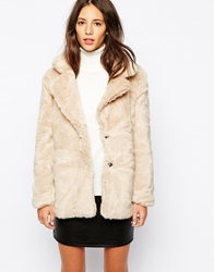 Pull And Bear Pullandbear Faux Fur Coat Beige