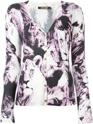 Roberto Cavalli Printed V Neck Cardigan Nude And Neutrals