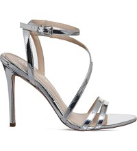 Office Nadine Mirrored Faux Patent Sandals Silver Mirror