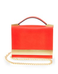 Brian Atwood Ava Leather Box Shoulder Bag Coral