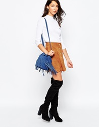 Daisy Street Scalloped Skirt In Faux Suede Brown