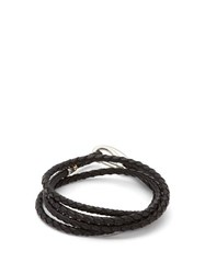 Paul Smith Braided Leather Wrap Bracelet Black