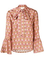 La Doublej Geometric Pussy Bow Blouse Pink And Purple