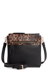 Sondra Roberts Colorblock Faux Leather Crossbody Bag Black Leopard Black