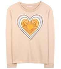 Christopher Kane Love Hearts Embroidered Cotton Sweater Neutrals
