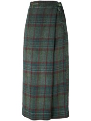 Massimo Alba Plaid Wrap Skirt Women Linen Flax 38 Green