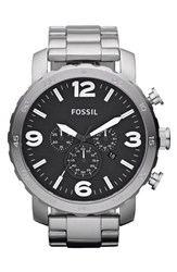 Men's Fossil 'Nate' Chronograph Bracelet Watch 50Mm Silver Black