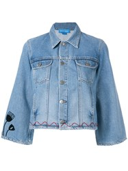 Mih Jeans Arch Denim Jacket Customised By Conie Vallese Blue