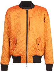 Mostly Heard Rarely Seen Quilted Bomber Jacket Nylon Polyester Yellow Orange
