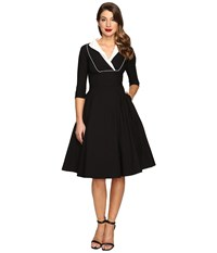 Unique Vintage Long Sleeve Collared Trudy Swing Dress Black White Women's Dress