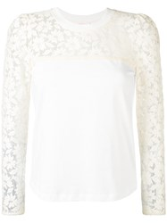 See By Chloe Lace Embroidered Blouse Women Cotton S White