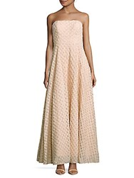 Nicole Miller Textured Straight Across Gown Blush