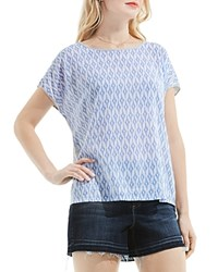Vince Camuto Ikat Star Print Tee Blue Gray Heather