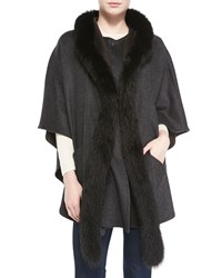 Neiman Marcus Fur Trim Cape With Detachable Hood Women's