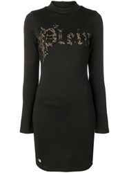 Philipp Plein Leopard Logo Print Dress Black