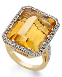 Macy's 14K Gold Ring Citrine 22 Ct. T.W. And Diamond 1 2 Ct. T.W. Rectangle Ring Orange