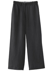 Poetry Silk Linen Wide Leg Trousers Black