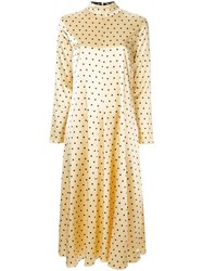 Stine Goya Dotted Midi Dress Yellow