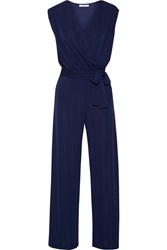 Bailey 44 Nautical Wrap Effect Stretch Jersey Jumpsuit Blue