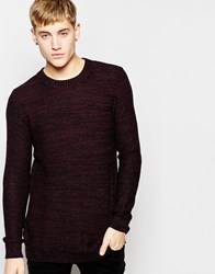 Pull And Bear Pullandbear Knitted Jumper With Crew Neck In Burgundy Navy