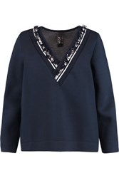 Mother Of Pearl Georgia Embellished Cotton And Modal Blend Scuba Sweatshirt Navy
