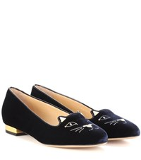 Charlotte Olympia Kitty Velvet Ballerinas Blue