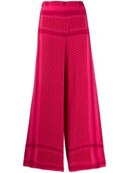 Cecilie Copenhagen Printed Wide Leg Trousers Red