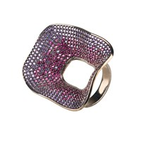 Latelita London Temptress By Night Statement Cocktail Ring Black Pink Purple