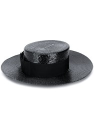 Saint Laurent Small Straw Boater Hat Black