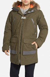 Men's Helly Hansen 'Legacy' Regular Fit Long Jacket With Faux Fur Trim