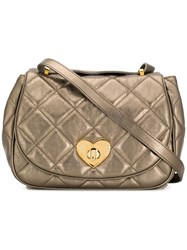 Moschino Cheap And Chic Quilted Heart Lock Bag Metallic