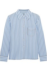 Prada Striped Cotton Shirt Blue