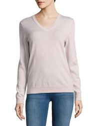 Lord And Taylor Petite Knitted V Neck Wool Sweater Ivory